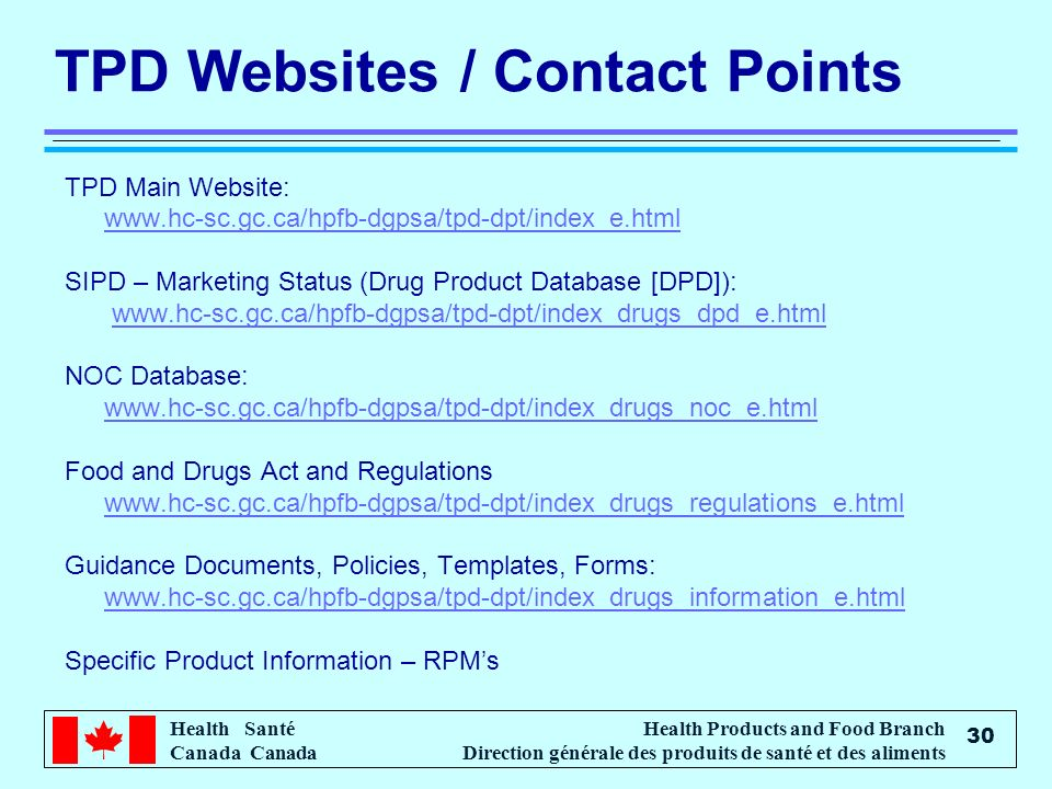 TPD Websites / Contact Points