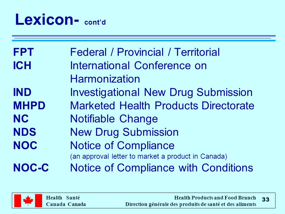Lexicon- cont'd FPT Federal / Provincial / Territorial