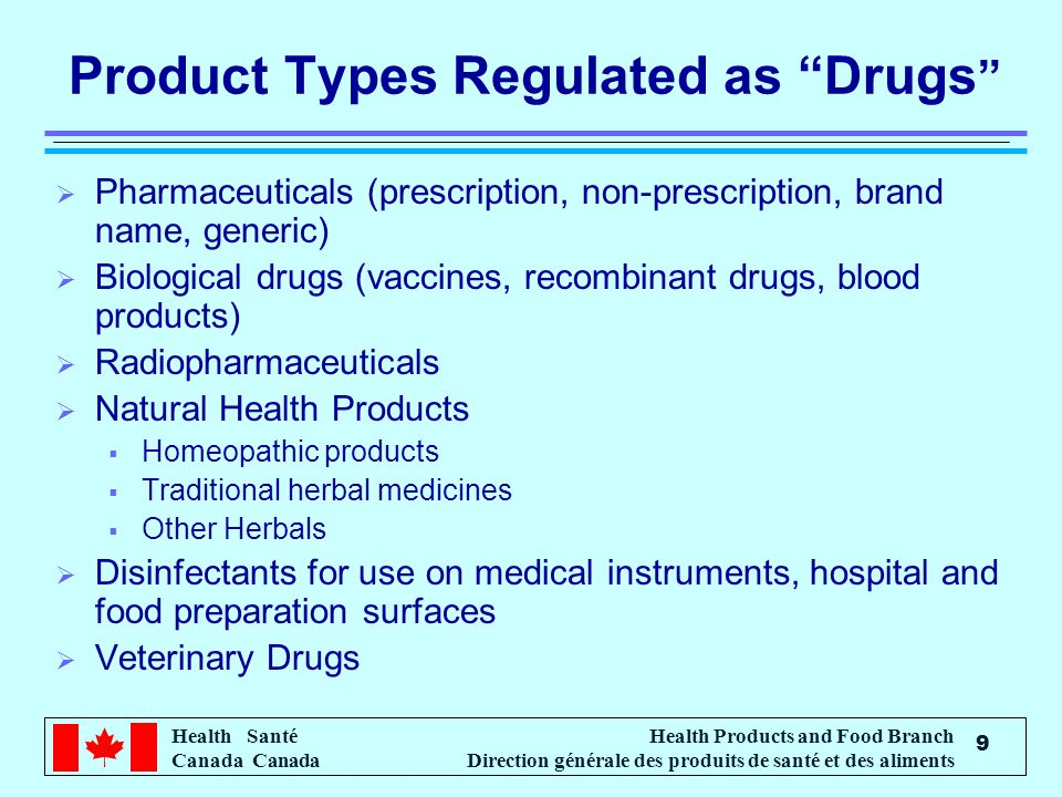 Product Types Regulated as Drugs