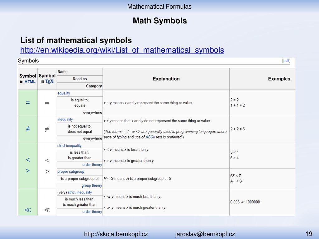 Mathematical formulas ppt download 19 list of mathematical symbols biocorpaavc Gallery