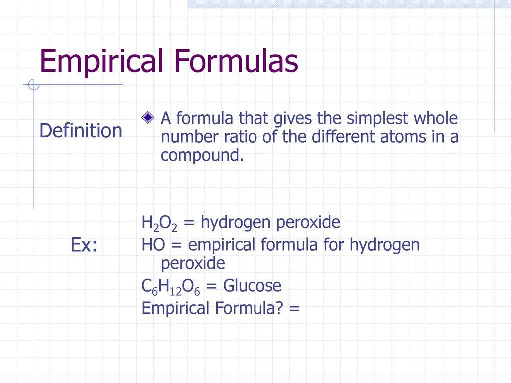 Empirical Formulas Definition Ex: