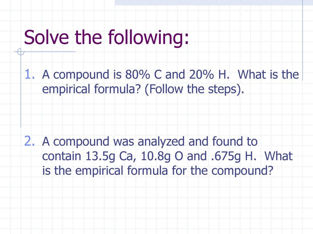 how to solve for empirical formula