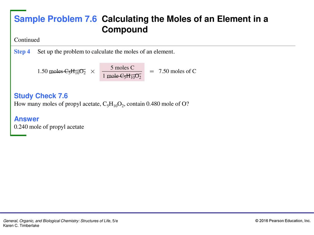 how to find the number of moles in an element