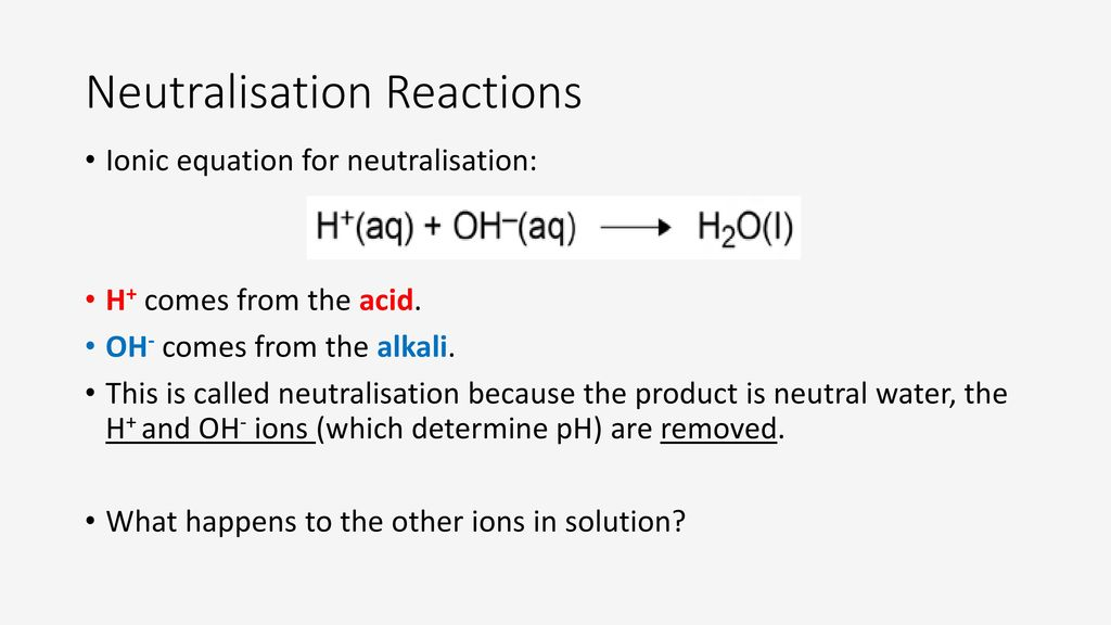 General word equation for neutralization?