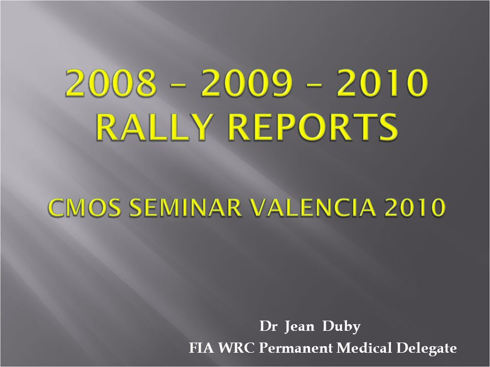 Dr Jean Duby FIA WRC Permanent Medical Delegate