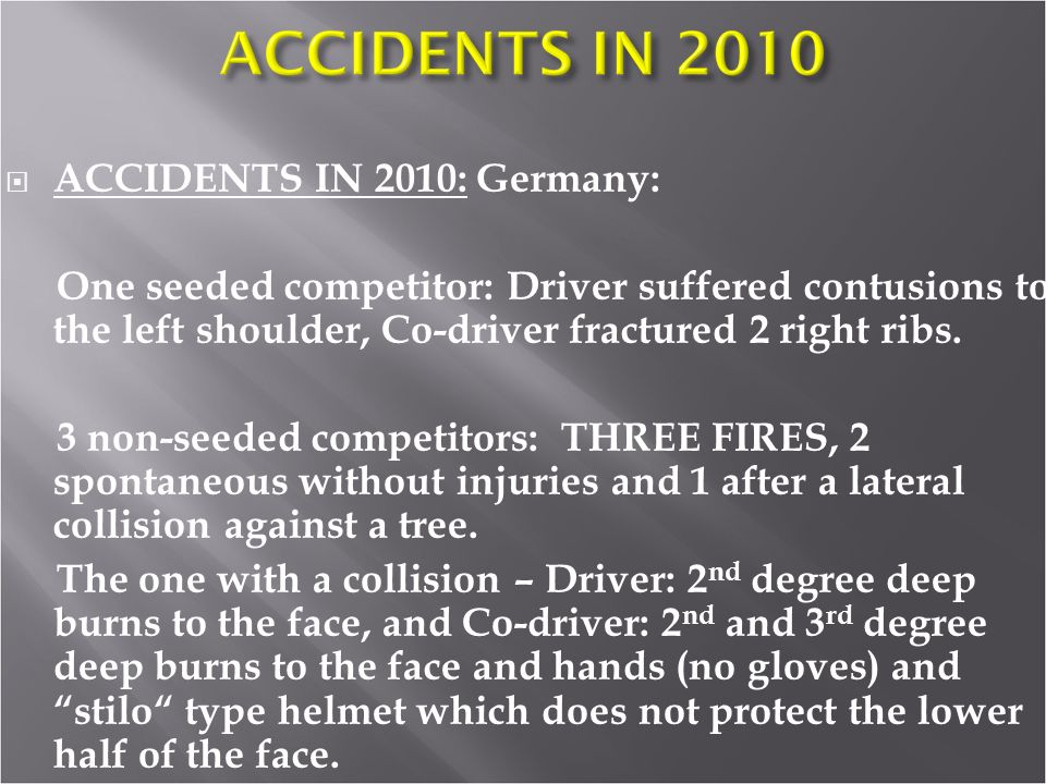 ACCIDENTS IN 2010: Germany: