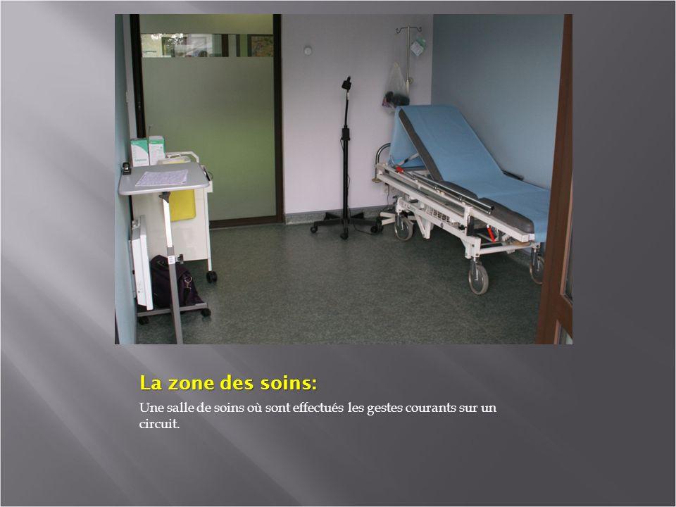 La zone des soins: Une salle de soins où sont effectués les gestes courants sur un circuit.