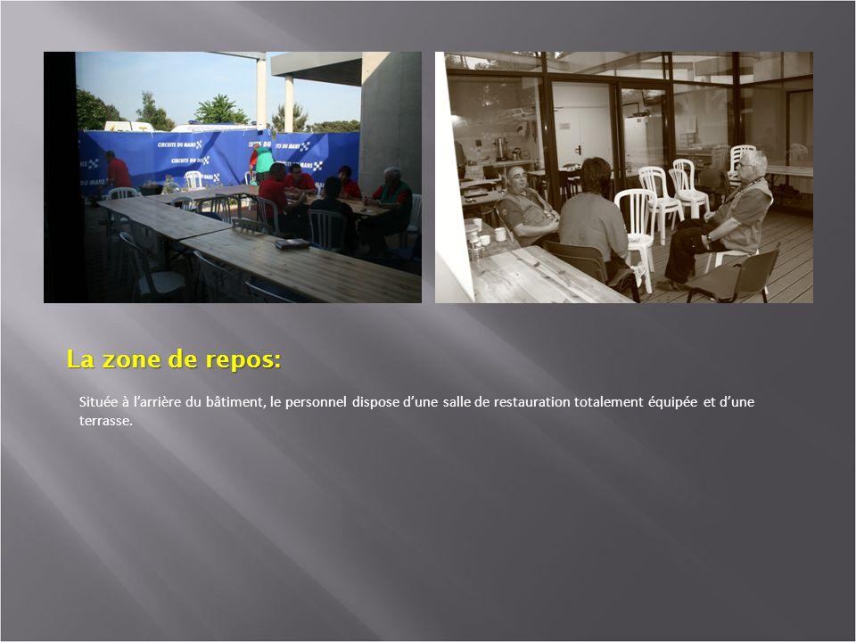La zone de repos: Située à l'arrière du bâtiment, le personnel dispose d'une salle de restauration totalement équipée et d'une terrasse.