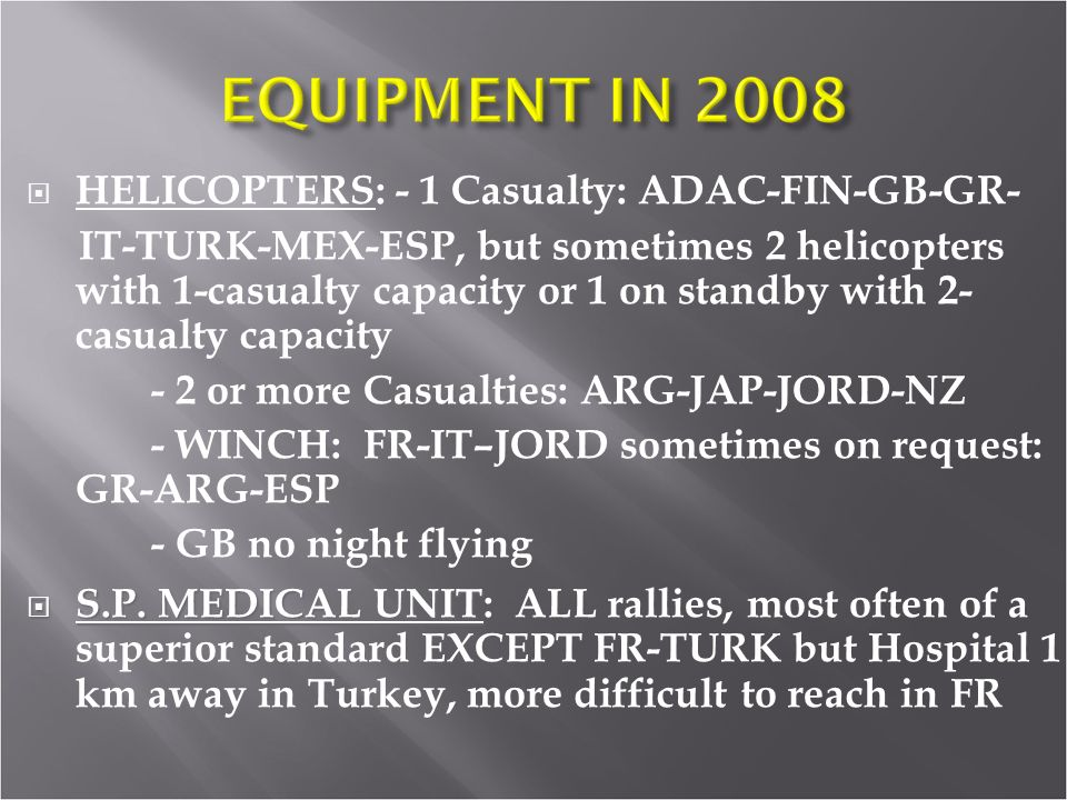 HELICOPTERS: - 1 Casualty: ADAC-FIN-GB-GR-