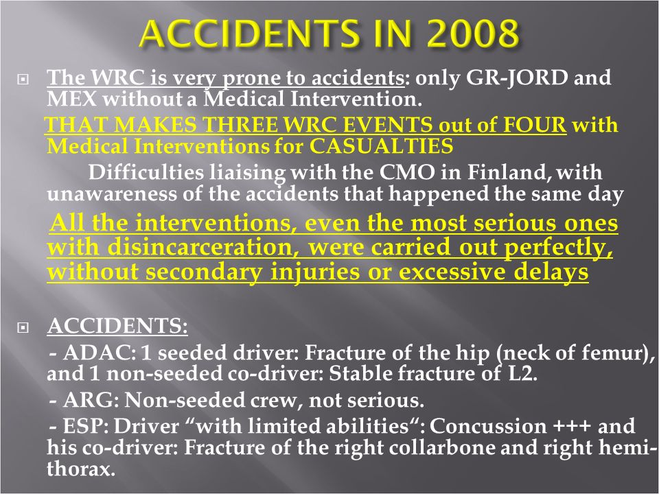 The WRC is very prone to accidents: only GR-JORD and MEX without a Medical Intervention.