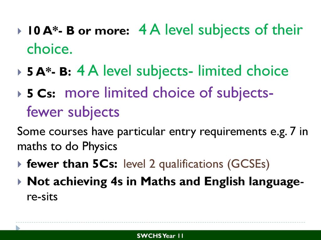 a level subjects In addition to any specified programme requirements, you should also ensure that you are taking at least two a levels from the list of preferred subjects (given below) we are happy to accept any subject as the third a level you offer, provided the other two subjects appear on the approved list if.