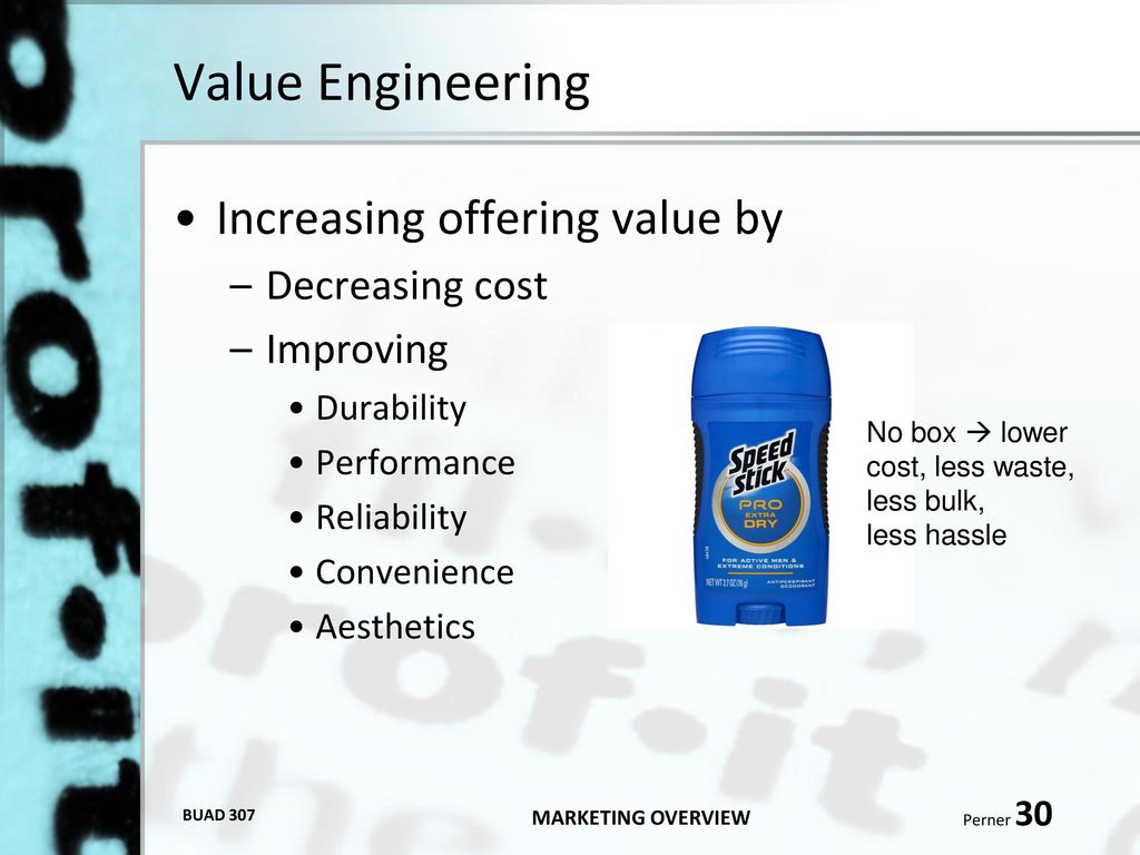 Buad 307 marketing fundamentals ppt download for Value engineered