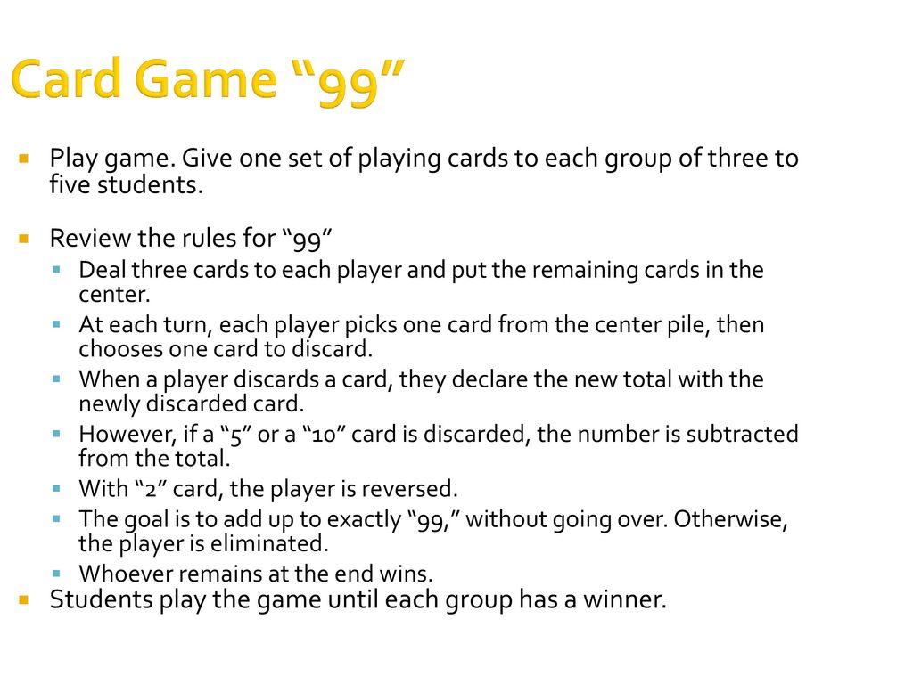 53 Card Game 99