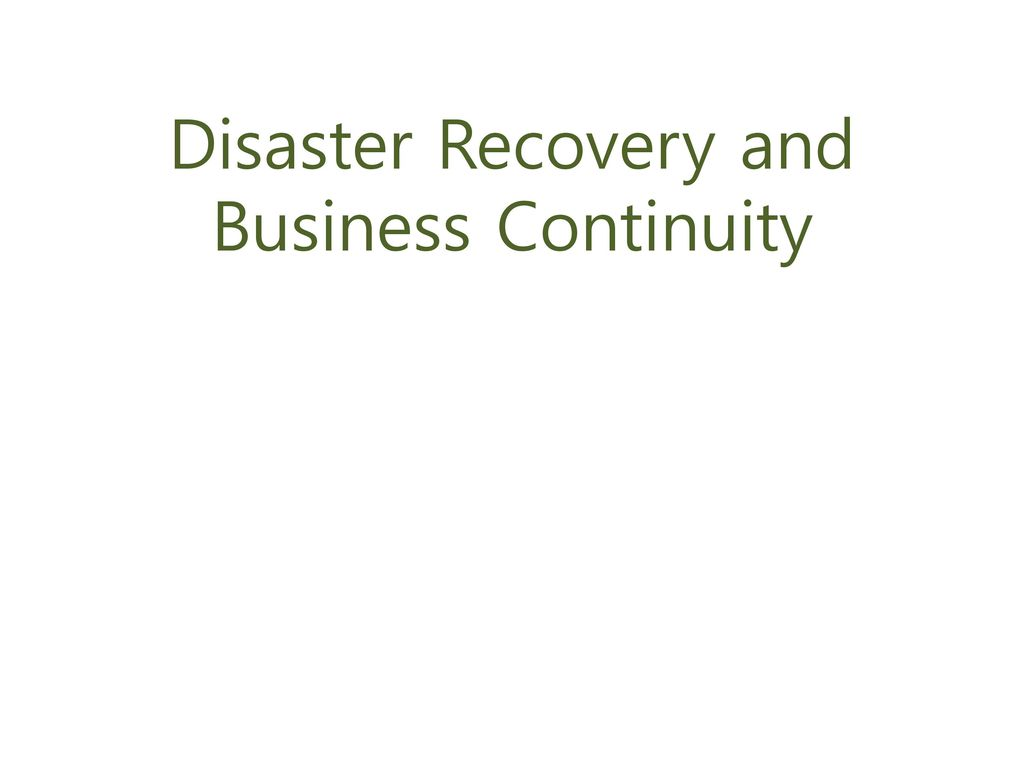 Outline Business Continuity Planning Business Impact Assessment