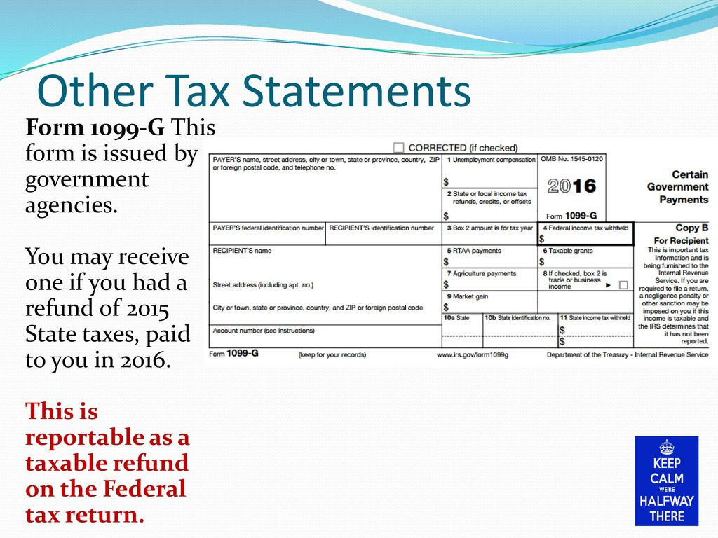 2016 foreign national tax seminar ppt download other tax statements form 1099 g this form is issued by government agencies you falaconquin