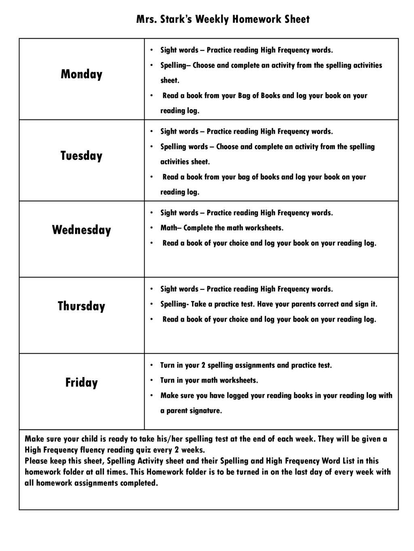 Mrs. Stark's Weekly Homework Sheet - ppt video online download