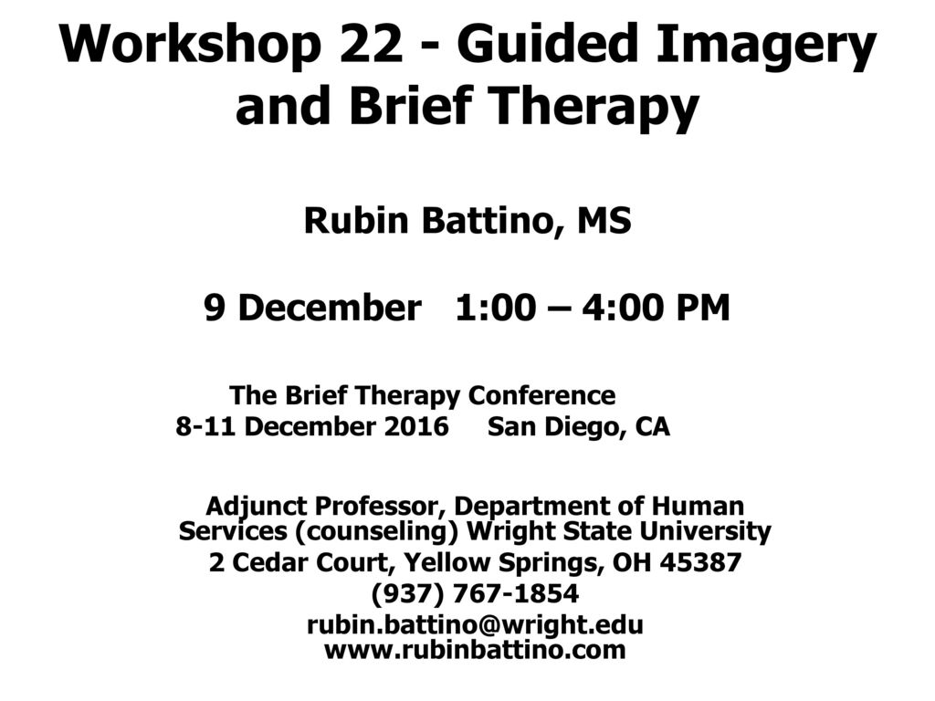 The Brief Therapy Conference 8-11 December San Diego, CA