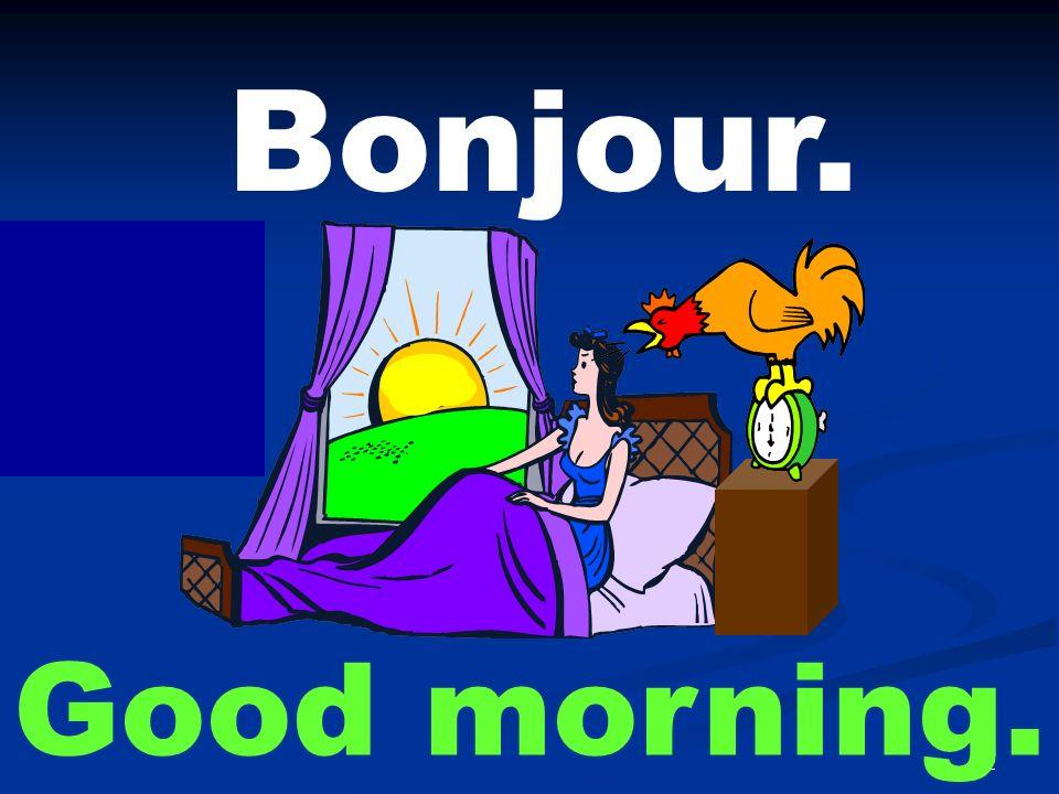 Bonjour. Good afternoon.