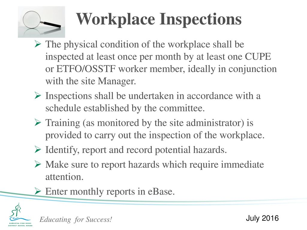 the importance of site inspection of a workplace 10 purpose workplace inspections help prevent injuries and illnesses through  critical examination of the campus, inspections identify and record hazards for.