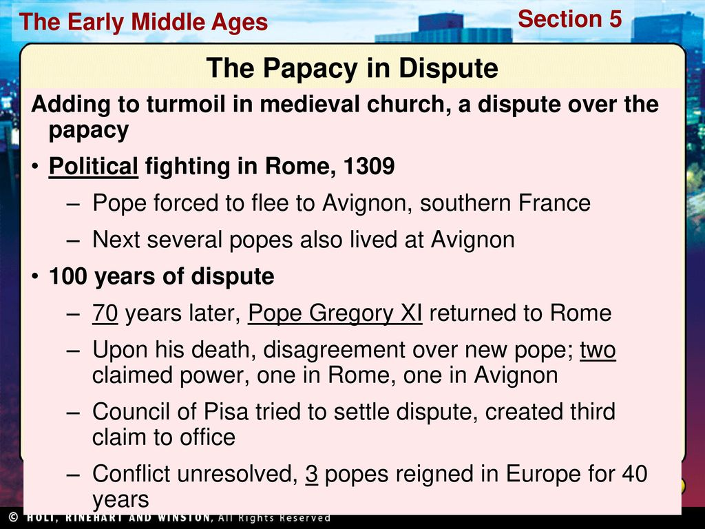 the issues faced by the pope in avignon during the medieval ages in europe Church and state were closely entwined in medieval europe the catholic church in the middle ages taught list of the functions of the catholic church in.