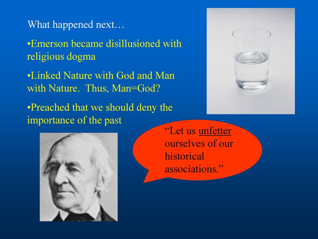 emerson nature vs religion A comparison of henry david thoreau and ralph waldo emerson's beliefs concerning simplicity, the value and potential of our soul, and our imagination.