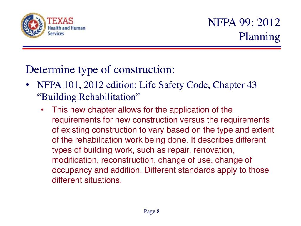 Dshs adopts nfpa 99 effective dates ppt download for Room design method nfpa 13