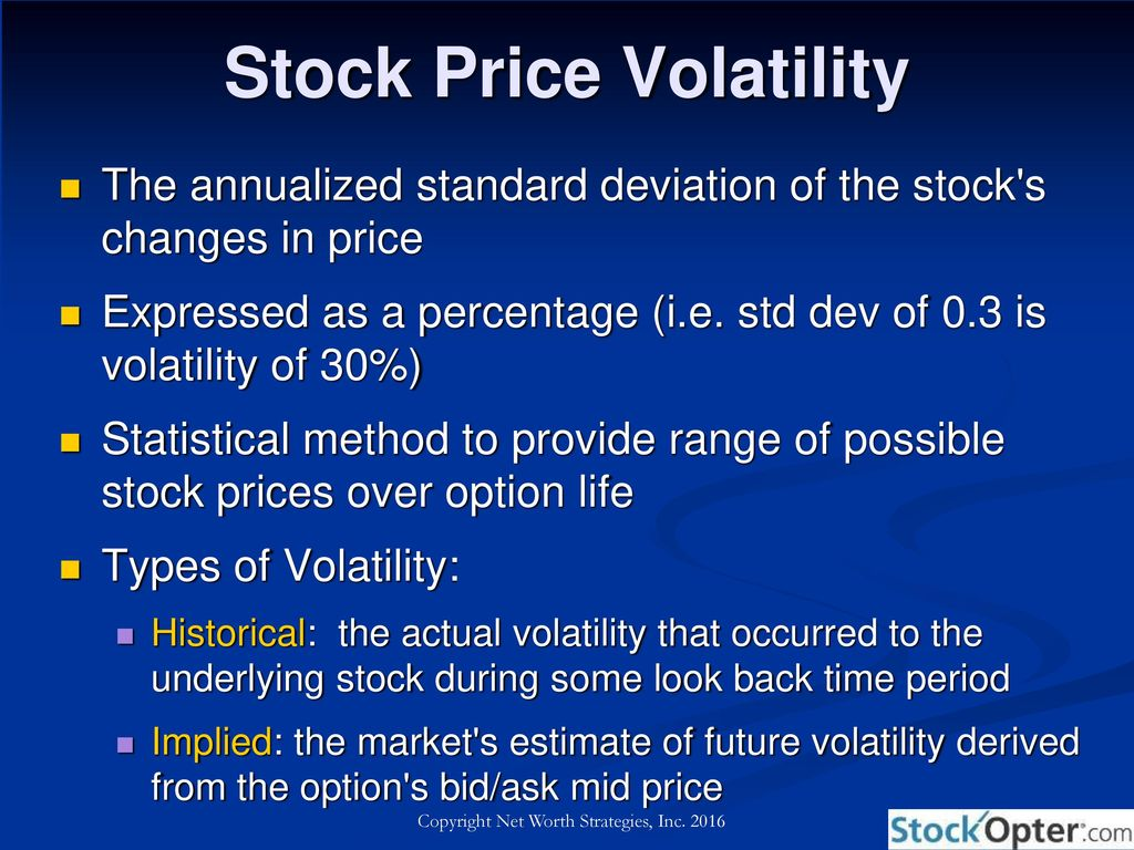 studies of stock price volatility changes Stock price volatility: a primer by dr a a kotz financial chaos theory january 2005 coza abstract a price series or an economic indicator that changes a lot and swings wildly.