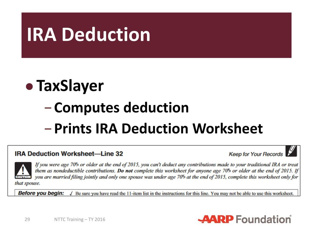 Worksheets Ira Deduction Worksheet adjustments to income pub 4491 lesson 18 4012 tab e ppt 29 ira deduction taxslayer computes deduction