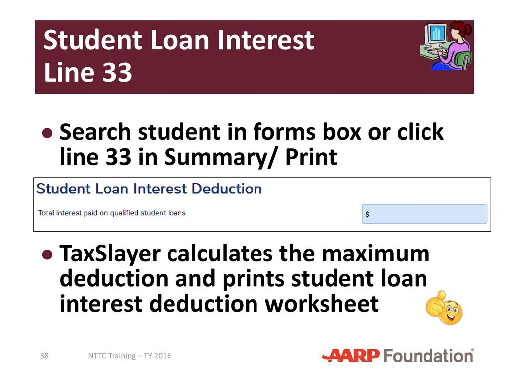 Worksheets Student Loan Interest Deduction Worksheet adjustments to income pub 4491 lesson 18 4012 tab e ppt student loan interest line 33