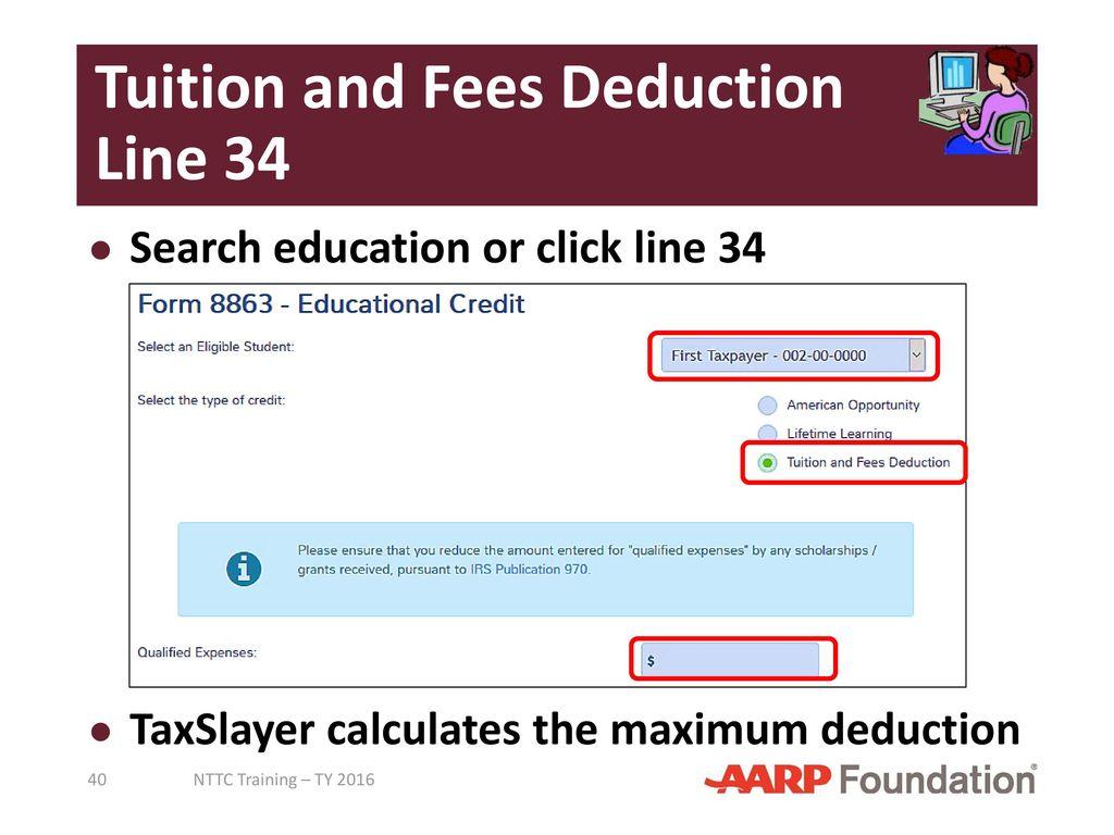 Adjustments to income pub 4491 lesson 18 pub 4012 tab e ppt tuition and fees deduction line 34 falaconquin