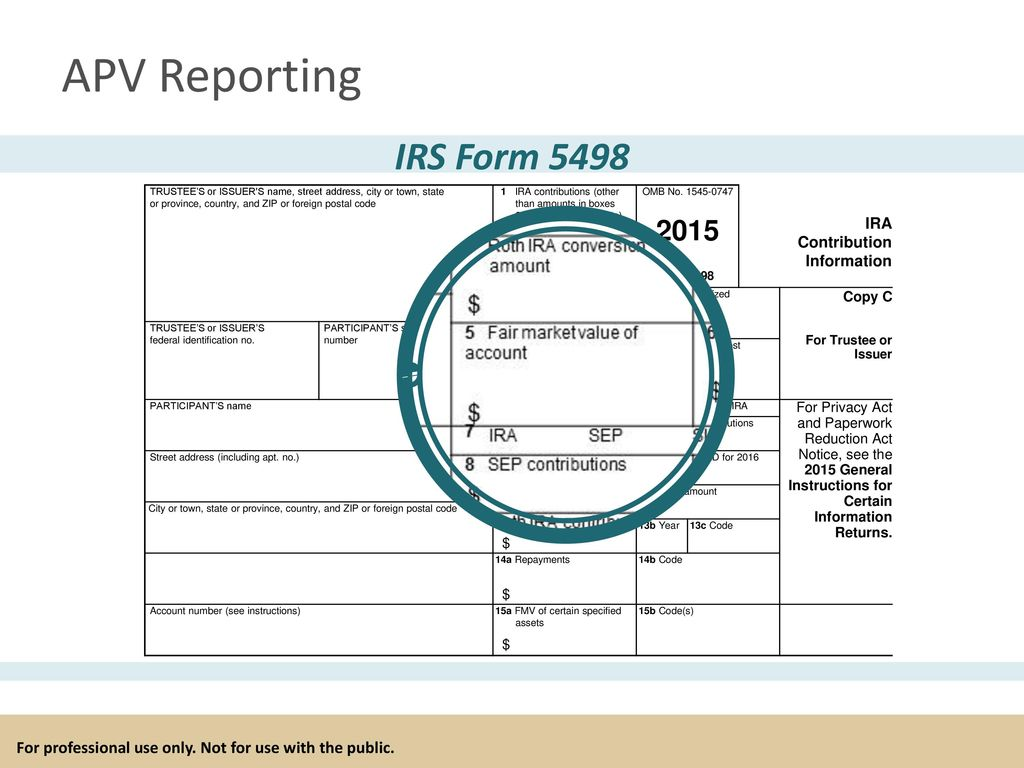 For professional use only not for use with the public ppt download apv reporting irs form 5498 trustees or issuer s name street address city falaconquin