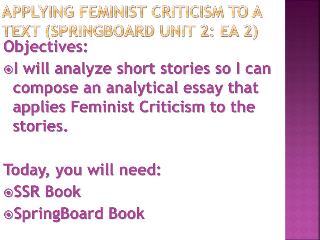 feminist criticism on where are you 18052009  feminist criticism is literary criticism that deals exclusively with female characters, women's issues and how the female roles in a story, novel or play.