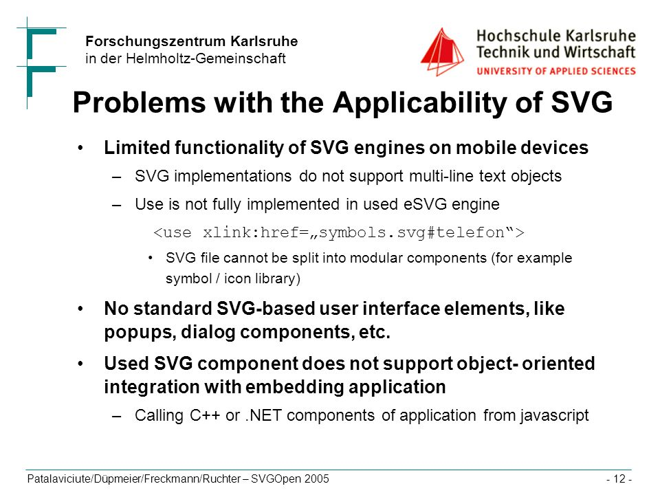 Problems with the Applicability of SVG