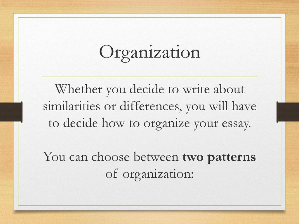 organizing your essay An organized essay is clear, focused, logical and effective  when all the parts  of an essay are in some sort of order, it is both easier for the.
