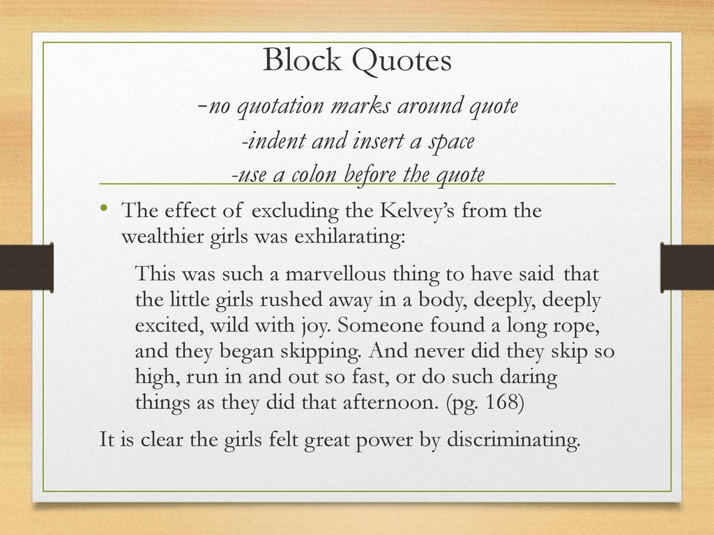 do block quote essay