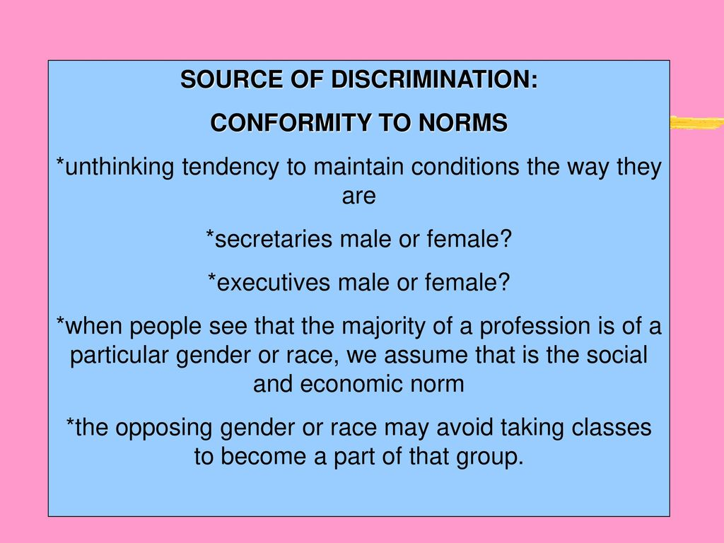 conformity and discrimination being different psychology essay Psychology essays religious studies essays  in discrimination in the form of being given a title such as burakumin which caused them to appear different than.