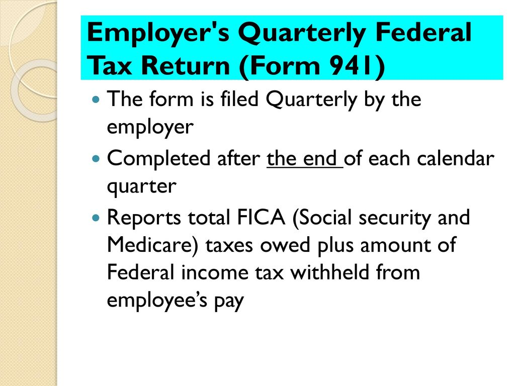 Employer taxes payments and reports ppt download employer s quarterly federal tax return form 941 falaconquin