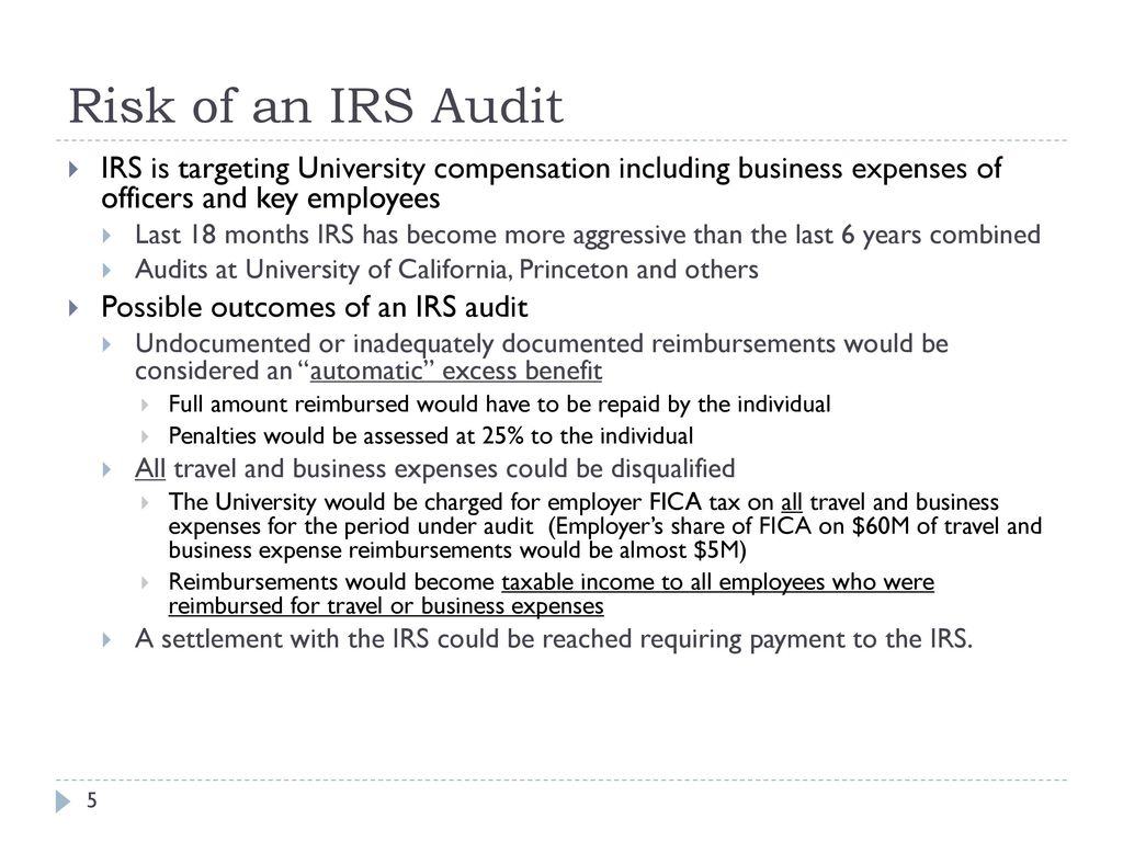 Executives guide to irs travel and business expense rules ppt risk of an irs audit irs is targeting university compensation including business expenses of officers and falaconquin