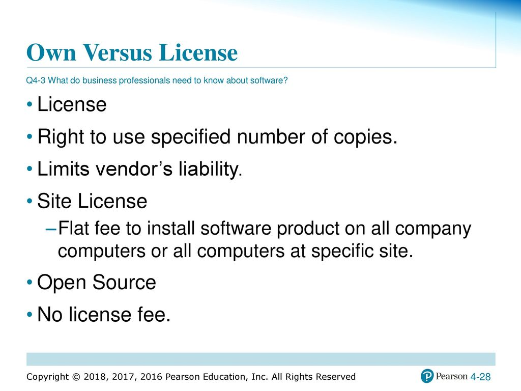28 software license certificate sales receipts templates using mis chapter 4 hardware software and mobile systems ppt own versus license license right to yadclub Image collections