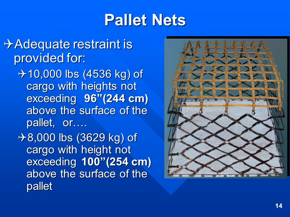 Pallet Nets Adequate restraint is provided for:
