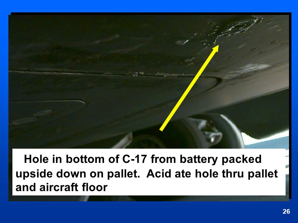 Hole in bottom of C-17 from battery packed upside down on pallet
