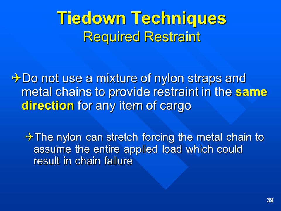 Tiedown Techniques Required Restraint