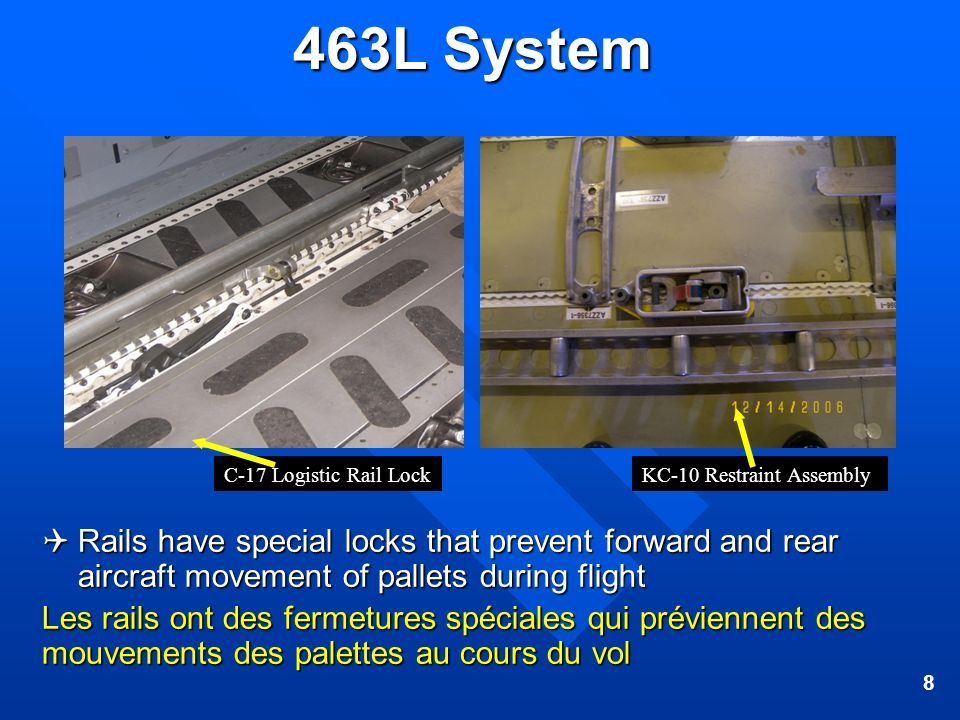 463L System C-17 Logistic Rail Lock. KC-10 Restraint Assembly.