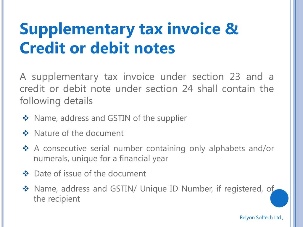 GST Goods And Services Tax Ppt Download Supplementary Tax Invoice %26 Credit  Or Debit Notes 12055660. Debit Note Issued By Supplier  Debit Note Issued By Supplier