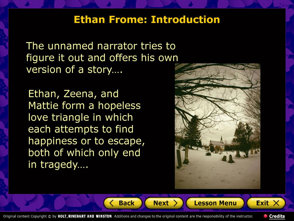 the story of ethan frome and the tragedy of he faced in edith whartons novel ethan frome Ethan frome wonderfully tells the story that edith wharton meant to in her novel outstanding acting and beautiful camera work make ethan frome a deeply moving film those who read the book will be mystified by the superiority of the movie over the novel.