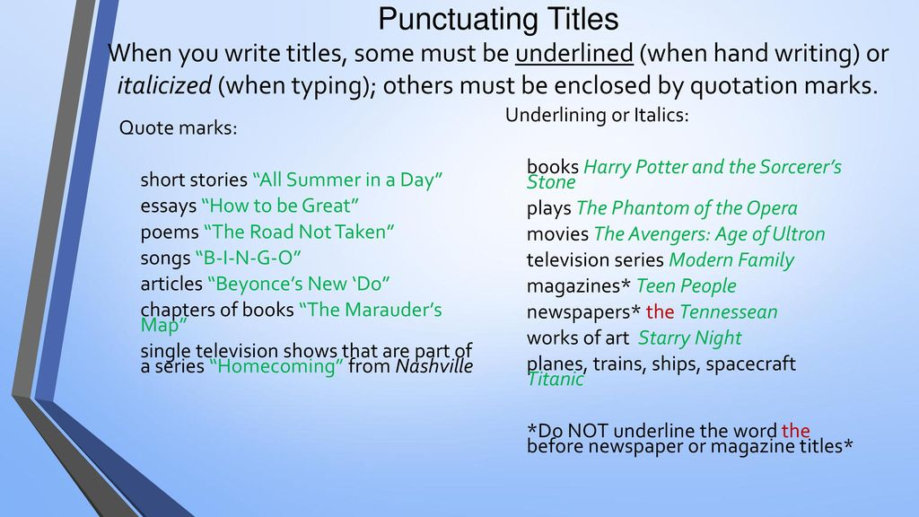 Are book titles underlined or quoted in essays