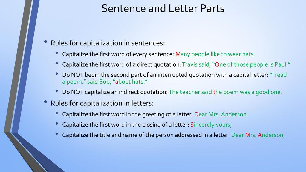 Punctuation and capitalization ppt download sentence and letter parts spiritdancerdesigns Image collections