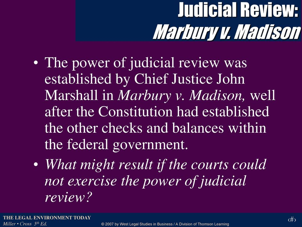 marbury v madison judicial review The supreme court gets its own kind of veto power after chief justice marshall's opinion in marbury v.