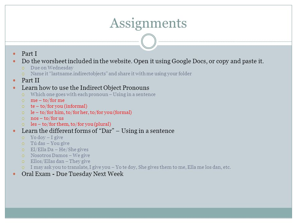 Assignments Part I. Do the worsheet included in the website. Open it using Google Docs, or copy and paste it.