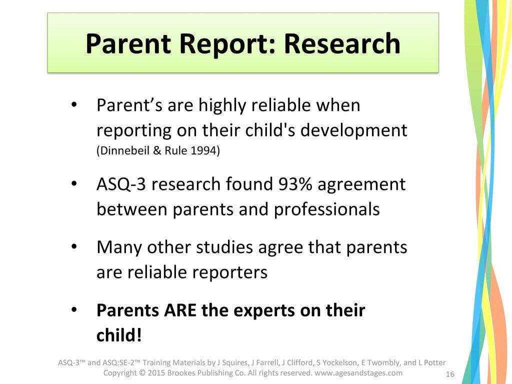 Parent Report: Research